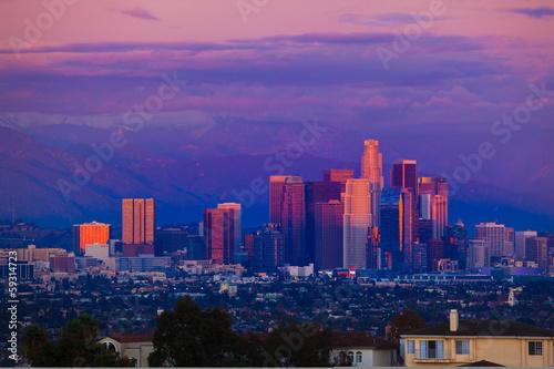 Fotobehang Los Angeles city skyline at sunset