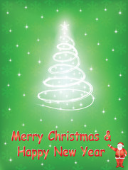 green Merry Christmas and Happy New Year background