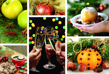 Christmas collage with tasty food, drinks and  decorations
