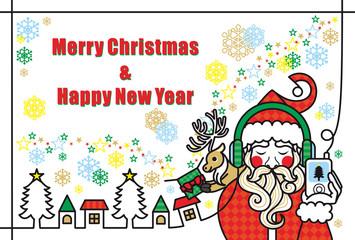 クリスマスカード用イラスト「音楽を聴くサンタクロースとトナカイのプレゼント」