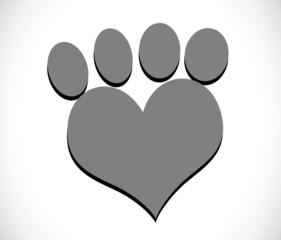 Animal foot print silhouettes