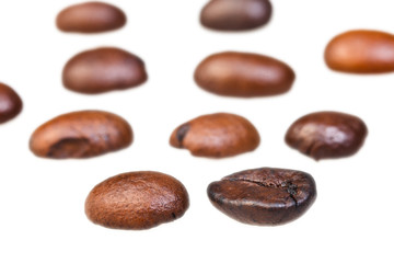 rows from roasted coffee beans
