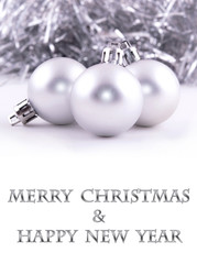 merry christmas and happy new year silver Christmas ball
