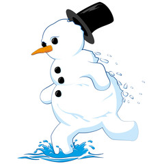 melting and running snowman