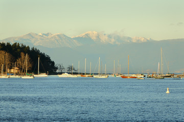 Nanaimo Harbor Anchorage and Coast Mountains