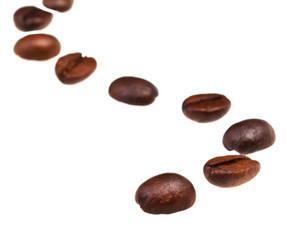 winding line pattern from roasted coffee beans