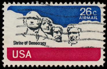 USA-CIRCA 1974 : a stamp printed in USA, identifying Mount Rushm