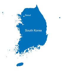 blue map of South Korea