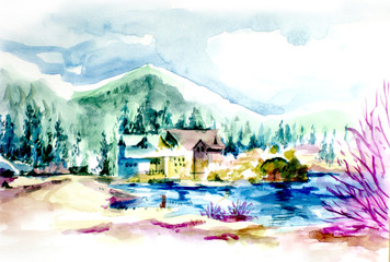 House resort by the lake in mountain illustration