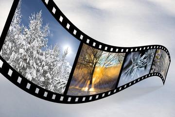 Film strip with Scandinavian winter pics