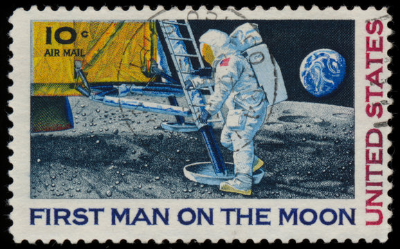 UNITED STATES - CIRCA 1969: A stamp printed in USA shows Neil Ar
