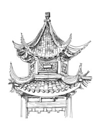Chinese temple drawing in black  and white