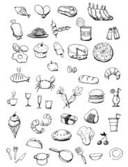 Food icons hand drawn illustration.