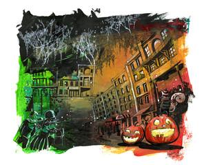 Halloween scary city illustration