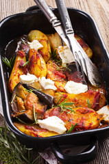 baked potato with eggplant and feta