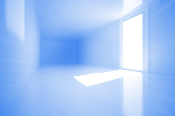 Bright blue room with window