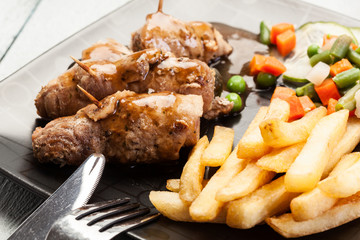 Pork rolls with french fries