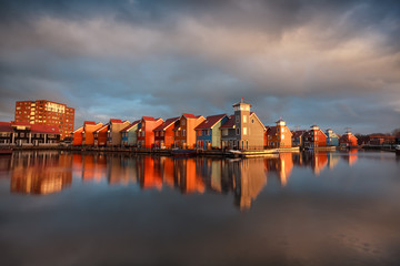 Wall Mural - beautiful colorful buildings on water in Groningen