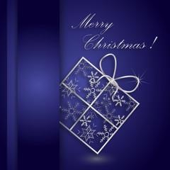 karta świąteczna granatowo-srebrna