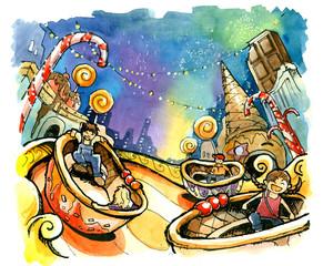theme park, amusement park illustration fun summer
