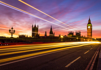 Westminster and light trail
