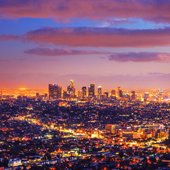 Foto op Plexiglas Los Angeles Los Angeles city skyline sunset night