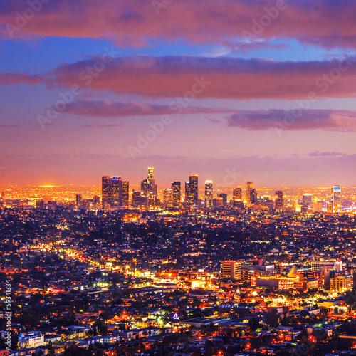 Fotobehang Los Angeles city skyline sunset night