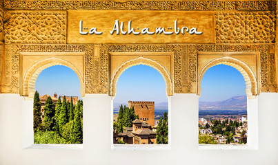 Fototapete - The Alhambra Palace banner, Granada, Spain.