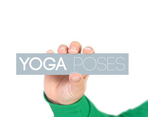 woman holding a label with yoga poses