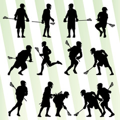 Lacrosse player in action vector background set