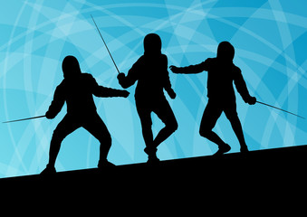 Sword fighters active young men fencing sport silhouettes vector