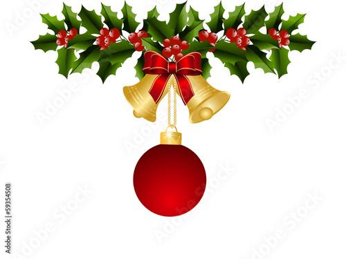 floral mistel weihnachtsglocke schleife hintergrund rot. Black Bedroom Furniture Sets. Home Design Ideas
