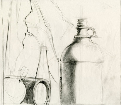 composition still objects drawing