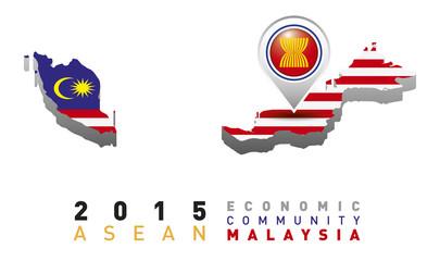 Malaysia Map Flag AEC