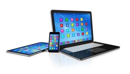 Smartphone, Digital Tablet Computer and Laptop