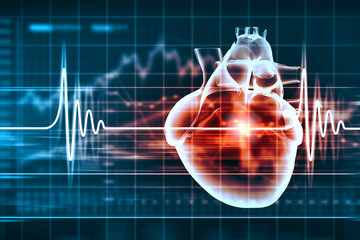 Human heart beats with heart attack or heart problem,