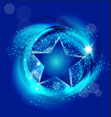Brilliant blue star background