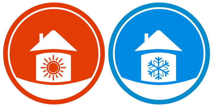 set two icons with sun and snowflake on house