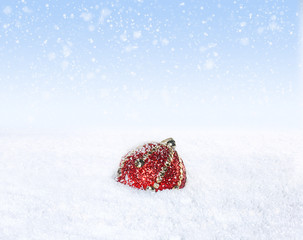Lonely Christmas Ball in the Snow