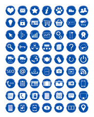 Set de iconos para Web en color azul