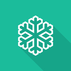 Snowflake icon with long shadow on turquoise background