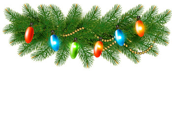 Christmas background with colorful garland and fir branches. Vec