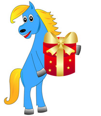 blue horse with a gift