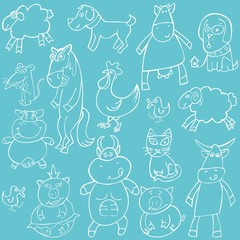 fully editable vector illustration with animals