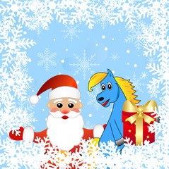 blue horse and Santa claus