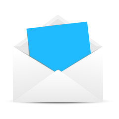 Envelope with a clean blue paper sheet