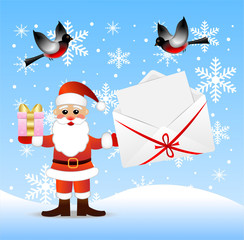 Santa claus with a gift and envelope with congratulation in hand