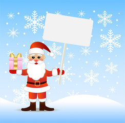 Santa claus with a gift and banner in hands