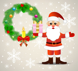 festive christmas background with Santa claus and chaplet from