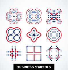 Business geometric shape symbols. Icon set